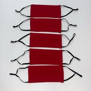 5 Red Fabric Face Masks | 100% Cotton | Adjustable